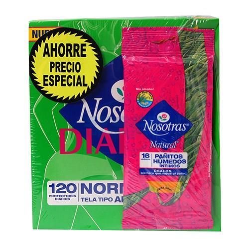 Foto PACK PROTECTOR DIARIO S/A 120UNID/PAÑOS HUMEDOS 16UNID NOSOTRAS PAQ de