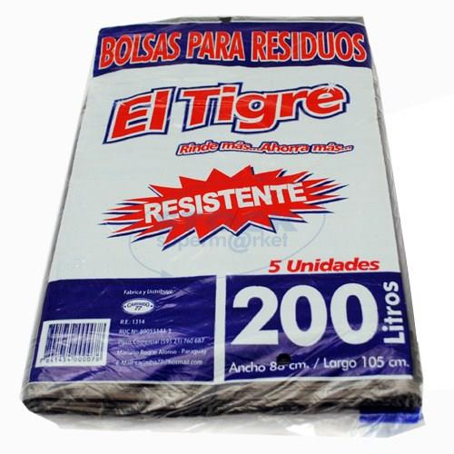 Foto BOLSA PARA RESIDUOS EL TIGRE RESISTENTE 200 LITROS 5 UNIDADES de