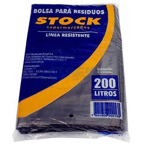Foto BOLSA PARA RESIDUO STOCK RESISTENTE 200 LITROS 5 UNIDADES de