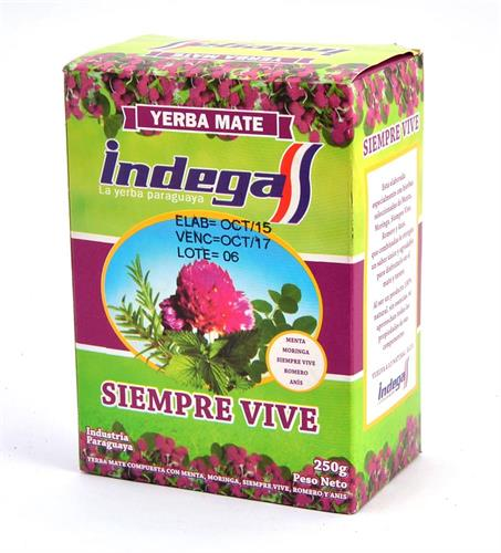 Foto YERBA MATE SIEMPRE VIVE 250GR INDEGA CJA de