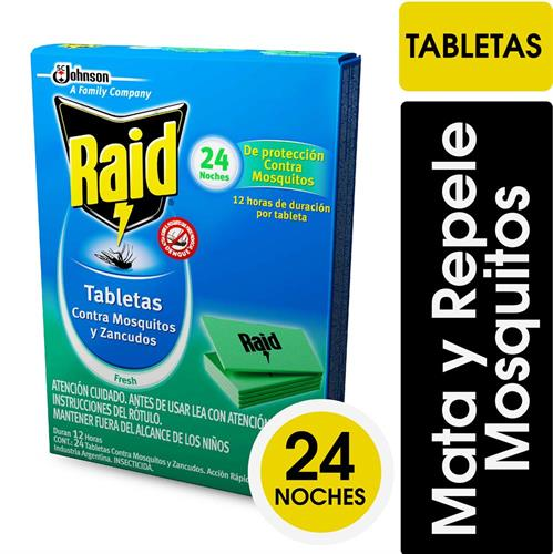 Foto TABLETAS P/MOSQUITOS Y SANCUDOS FRESH 24UN RAID CAJA de