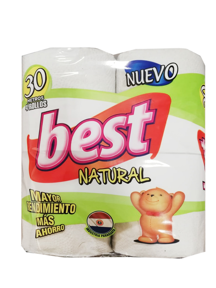 PAPEL HIGIENICO NATURAL BEST PAQUETE 4UN