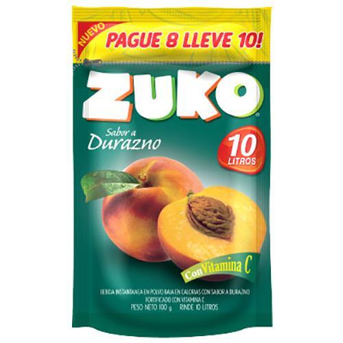 Foto JUGO E/POLVO SAB/DURAZNO ZUKO 100GR DOYPACK de