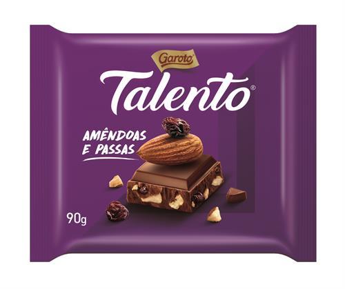 Foto  CHOCOLATE TABLETA C/ ALMENDRAS Y PASAS 90GR TALENTO de