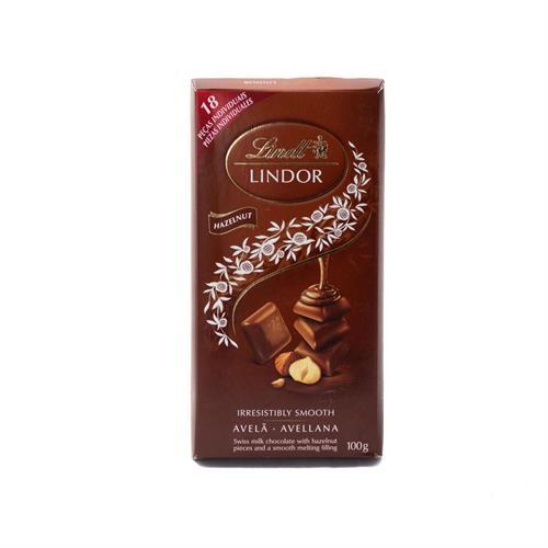 Foto CHOCOLATE TABLETA LECHE C/AVELLANAS 100GR LINDT LINDOR PLA de