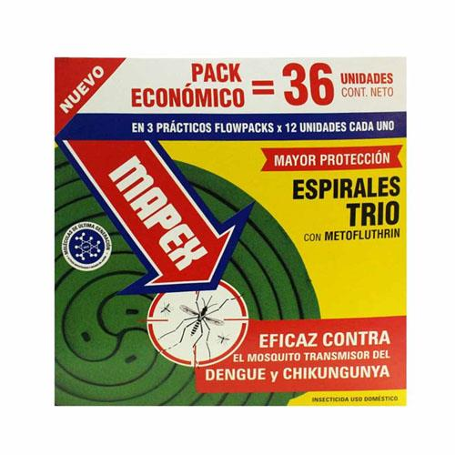 Foto ESPIRALES TRIO CON METOFLUTHRIN MAPEX 36Unidades de