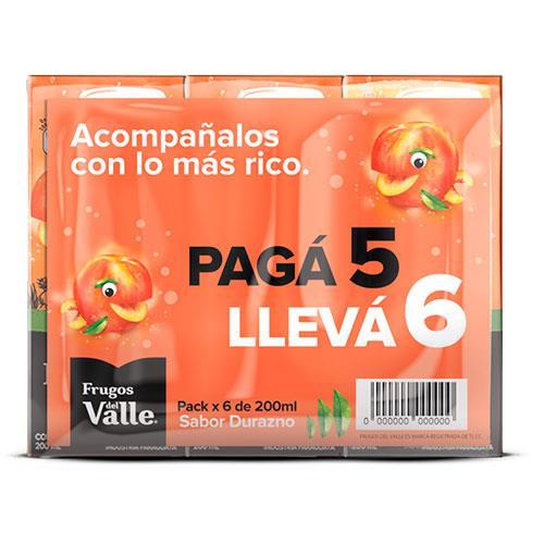 Foto PACK JUGO SABOR DURAZNO FRUGOS DEL VALLE 6X200ML de